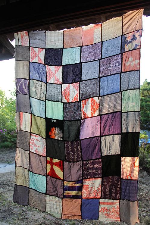 Vintage japanese kimono patch worked silk rug