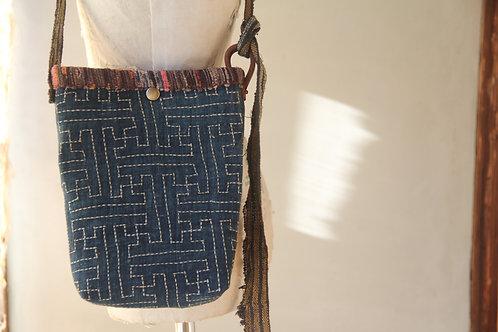 Vintage Japanese sashiko stitched furoshiki mini shoulder bag