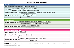 Commonly Used Equations
