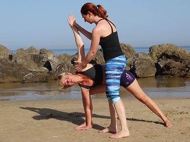 Yogales op het strand