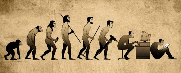 Evolution of Man from Monkey to Cell Phone Obsessed Man