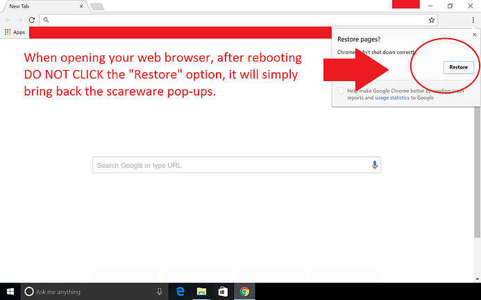 Restarting your browser after a forced termination