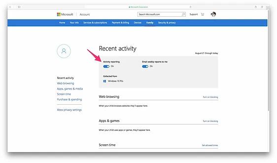 Parental Controls Settings in Windows 10 Web Interface