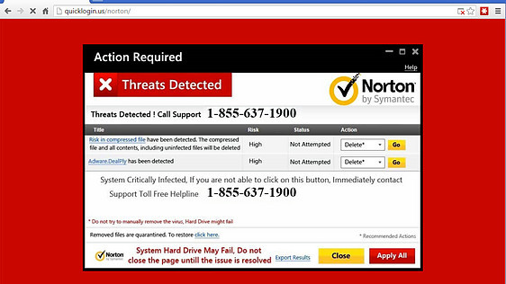 Example of a Full Screen Tech Support Scareware Scam imitating Norton