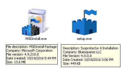 Comparison between Microsoft Security Essentials valid setup file vs malicious setup file