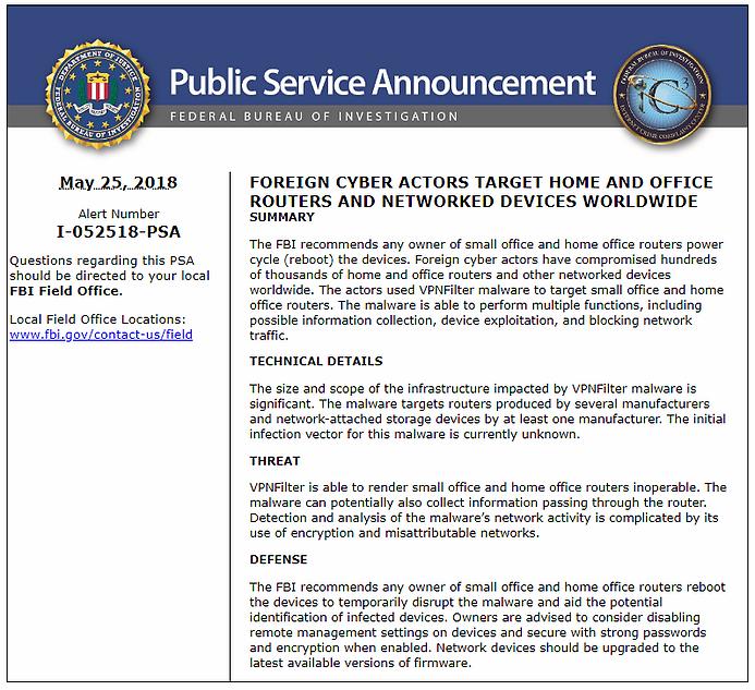 FBI Announcement on VPN Filter Malware