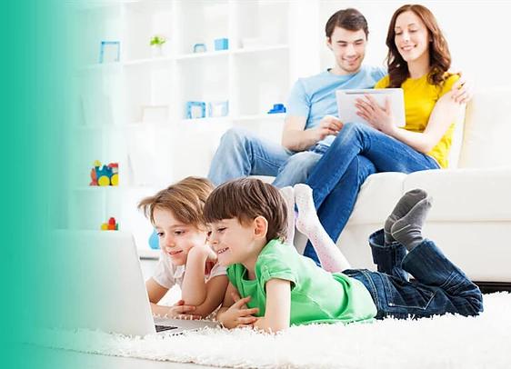 Children Enjoying Technology with Parental Controls