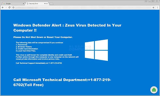 Example of a Full Screen Tech Support Scareware Scam imitating Windows 10