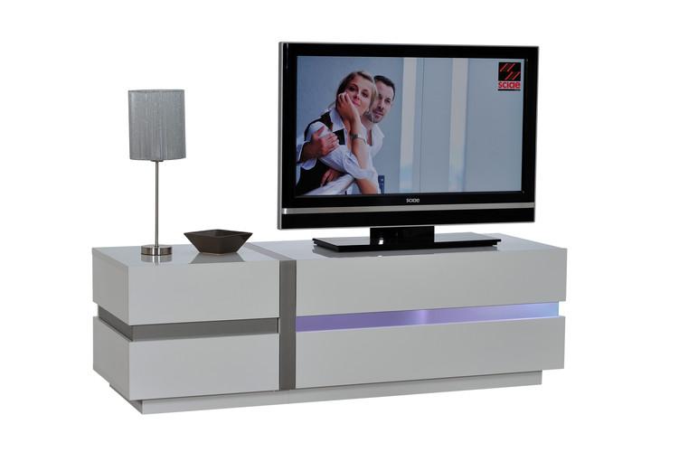BANC TV 150 1pO 1 ABATANT N°06 avec éclairage   1 DOOR 1 FLAP TV HIFI BENCH 150 N°06with lights