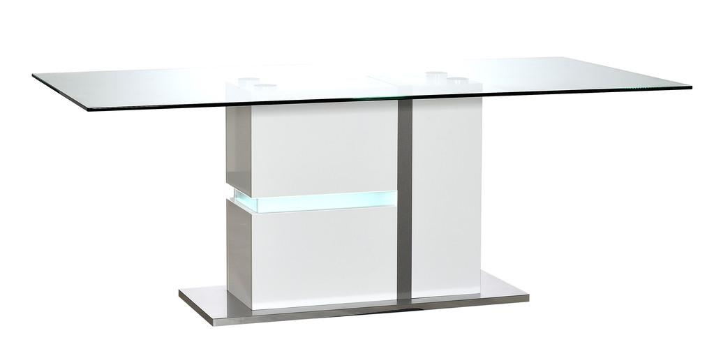 Table RECTANGULAIRE fut led N°13 avec éclairage    TABLE WITH GLASS TOP  N°13 with lights