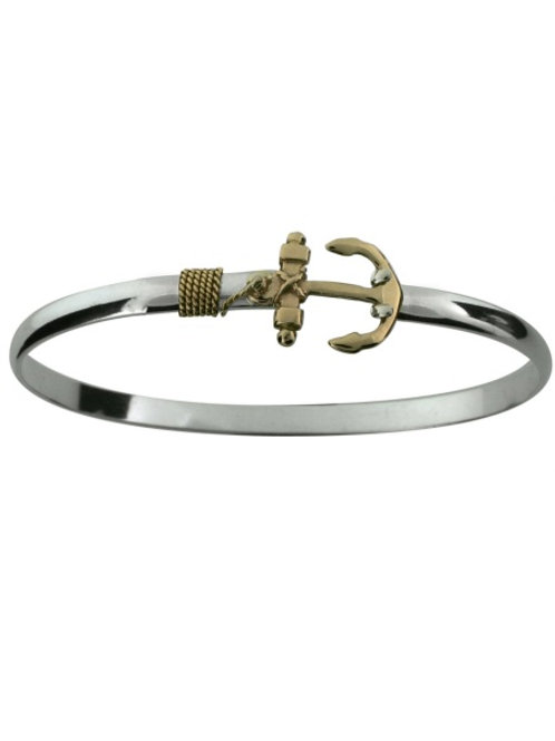 Sterling Silver 14K YG Anchor Bracelet