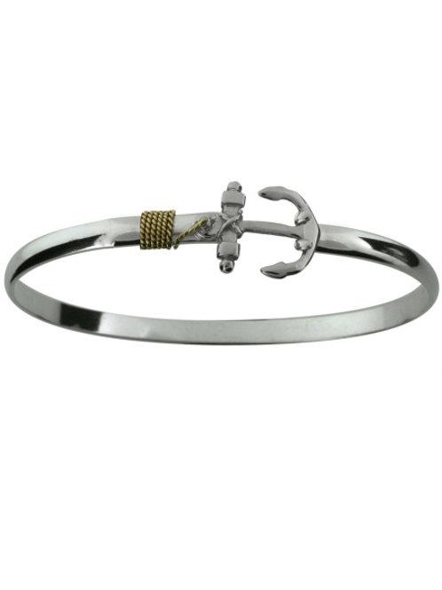 Sterling Silver Anchor YG Wrap Hook Bracelet