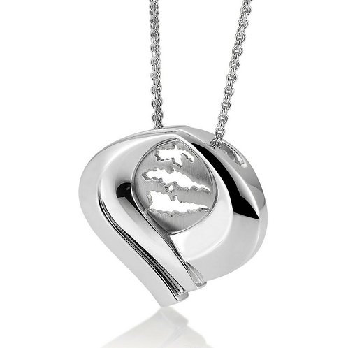 Island Jewelry Pendant All Silver Heart Collection