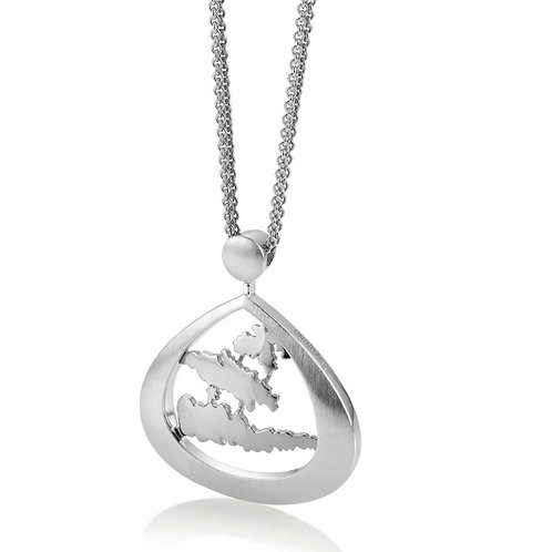 Island Jewelry Pendant All SIlver Tear Drop Collection