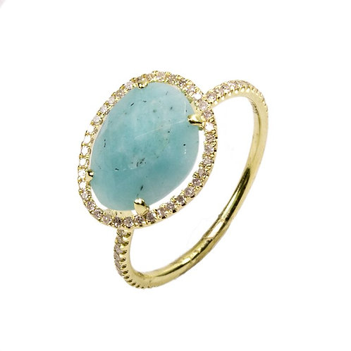 14K Yellow Gold Amazonite & Diamond Ring