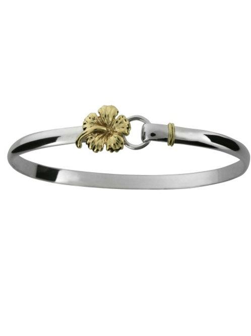 Sterling Silver 14K Wrap & Hibiscus Hook Bracelet