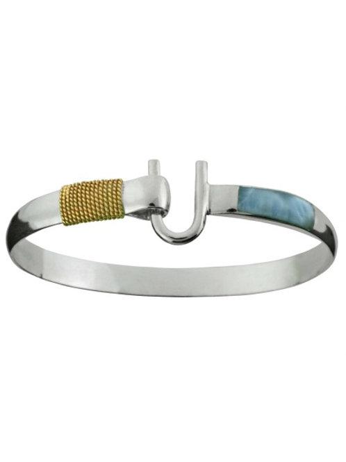 14K Wrap Larimar Inlay Hook Bracelet