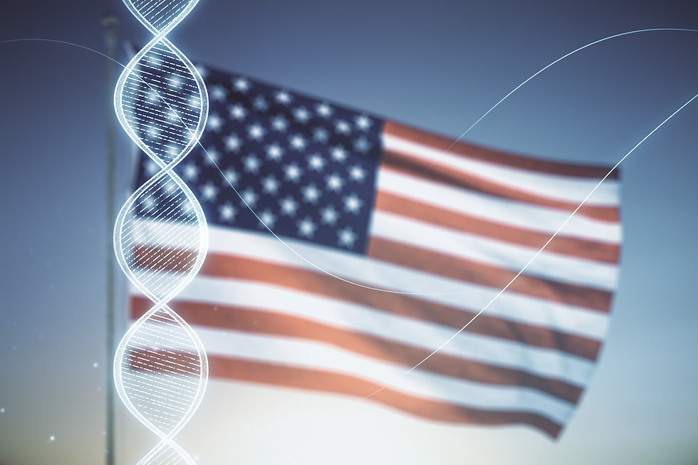 Virtual DNA symbol illustration on US flag and blue sky background. Genome research concep