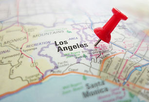 Closeup of a map of Los Angeles, California with red pin                               .jp