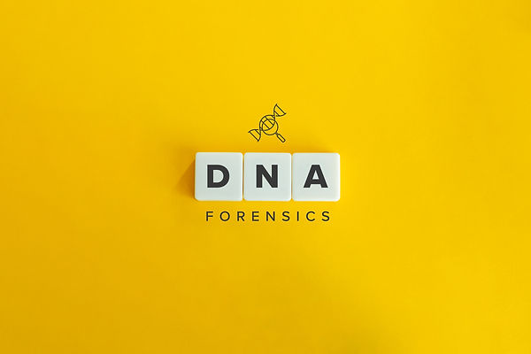 DNA forensics banner and concept. Block letters on bright yellow orange background. Minima
