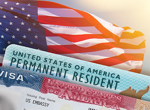 VISA United States of America. Green Card US Permanent resident. Work and Travel documents