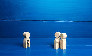 figurine with a void shape of a child and family of parents with a child. Surrogacy concep