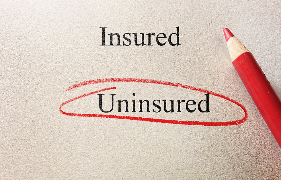 Uninsured circled, with Insured text and pencil on textured paper - lack of insurance conc