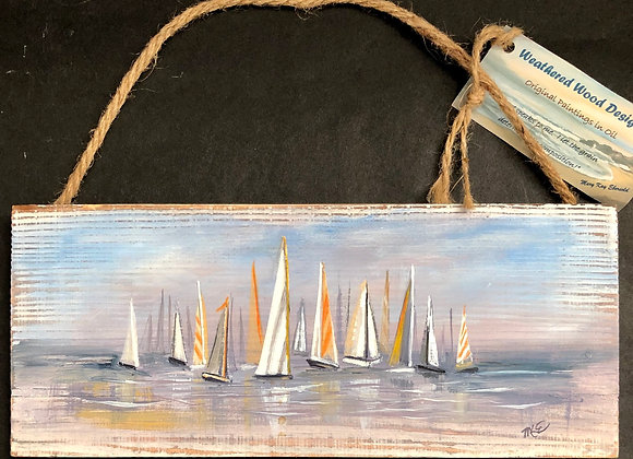"""""""The Regatta""""- oil painting on whitewashed board"""