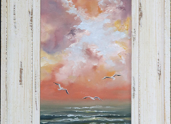 """Fly Free"" - oil painting on stretched canvas 7 x 14"" framed"