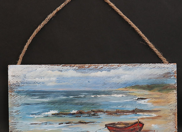 """""""Little Red Boat""""-  oil painting on whitewashed board"""
