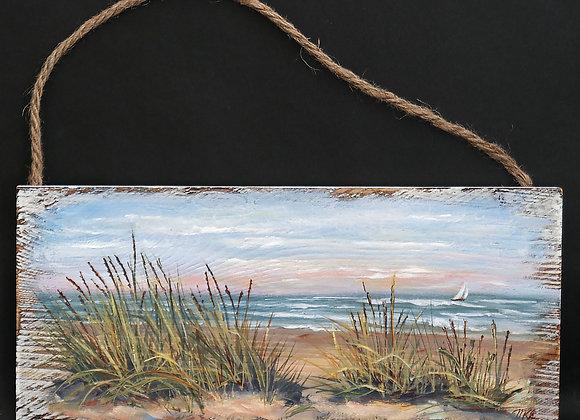 """Beach grass View""- original oil painting on whitewashed board"