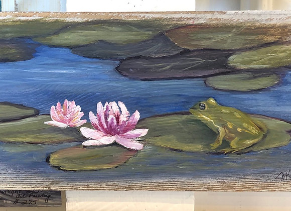 "Barnwood plank ""Lily pad visitor"""
