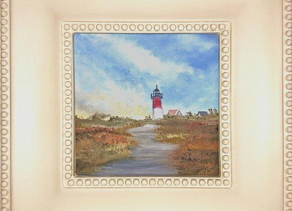 """""""Nauset Light"""" 6"""" x 6"""" oil painting w/ off-white frame"""