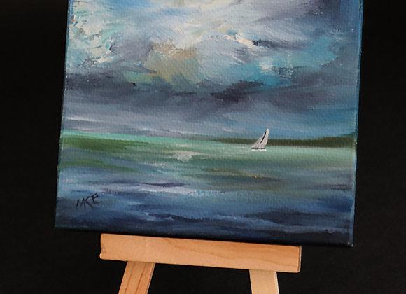 """Midnight Sail"" - mini oil on canvas w/easel"