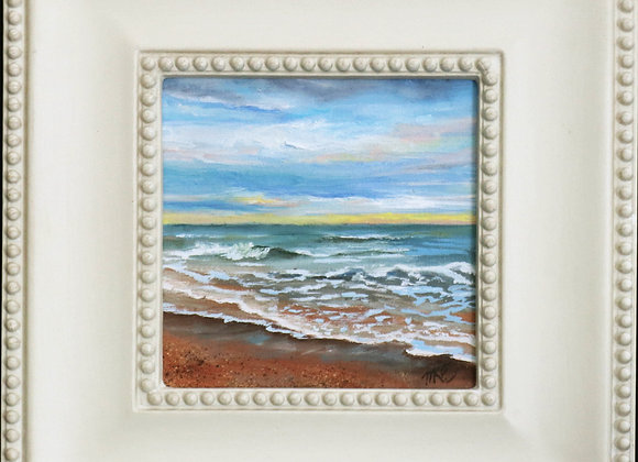 """Seafoam"" - 6""x 6"" oil on canvas panel / framed"