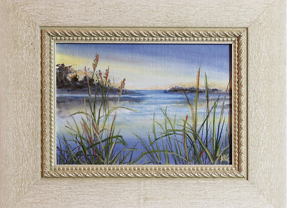 """Bay View"" - 5"" x 7"" oil on panel w/frame"