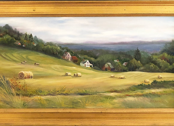 """""""Haying Time"""" Original Oil Painting on Canvas - framed"""