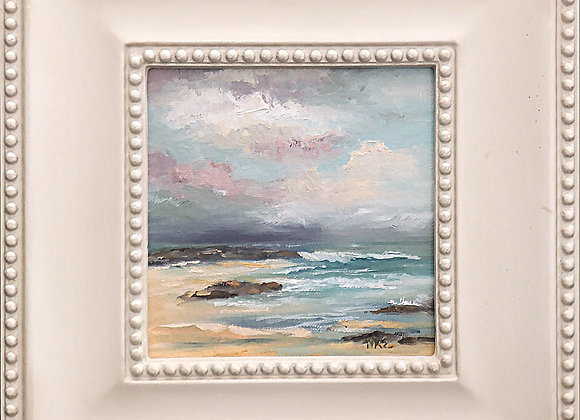 """""""Rushing In"""" 6"""" x 6"""" oil painting on panel w/off white frame"""
