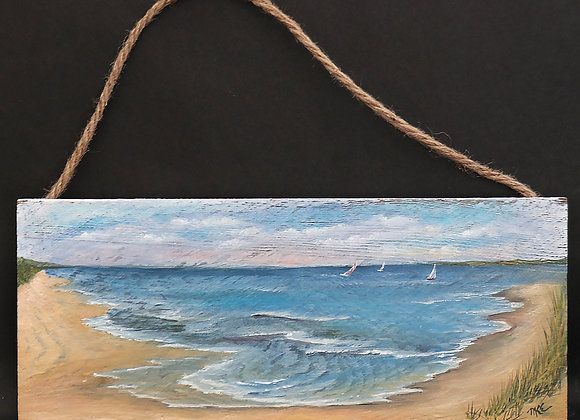 """""""In the Distance"""" - oil painting on whitewashed board"""