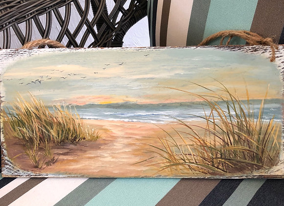 "Barnwood ""Peace at the Shore""  oil painting on plank"