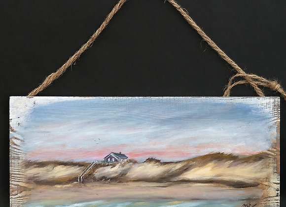 """""""Outermost House""""- original oil painting on whitewashed board"""