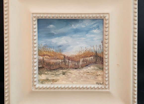 """6"""" x 6"""" oil painting """"Beyond  the  Fence"""""""