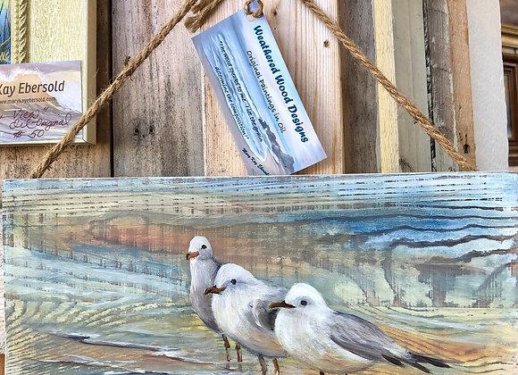 """Barnwood """"Wading Gulls ll""""  5x 12"""" oil on whitewashed barnwood"""