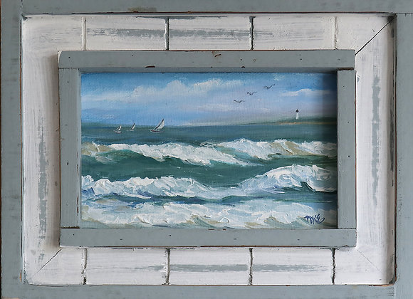 """Out to Sea"" - 4"" x 6"" oil on panel w/ rustic frame"