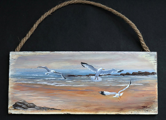 """Gulls in Action"" 5"" x 12"" oil on whitewashed barnwood plank"