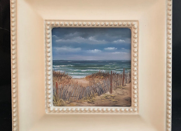 """""""Save the  Dunes"""" 6x6"""" oil on panel framed"""