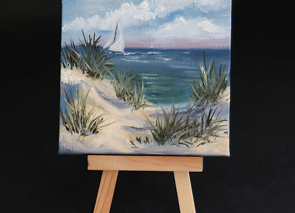 """Just Off Shore"" - oil painting w/easel"