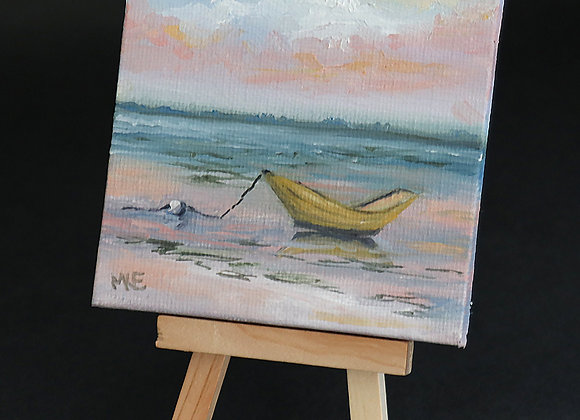 """""""Little Yellow Dory"""" - mini oil on canvas w/easel"""