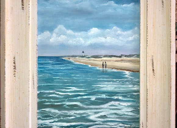9 x 12 Oil on Canvas Panel - Whitewash Frame