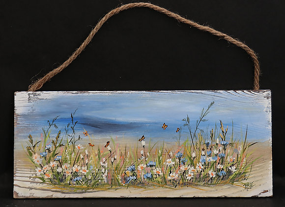 """Wildflowers So Sweet"" 5"" x 12"" oil on whitewashed wood panel"